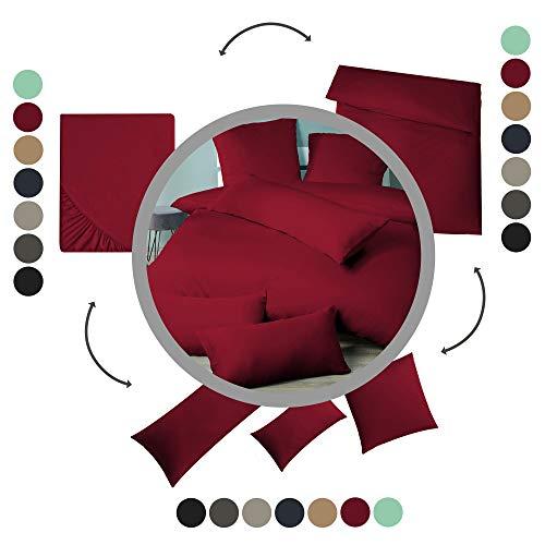 aqua-textil Luxury Bettwäsche zum Kombinieren 180 x 200 cm Spannbettlaken Bordeaux rot Baumwolle Mako Satin Bettlaken