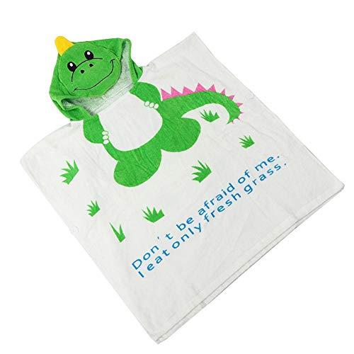 Capa de albornoz, fácil de llevar Toalla de playa con capucha Toalla de baño para bebé, Toalla de playa para niños Toalla de playa para niños(Green dinosaur, 60 * 62cm)