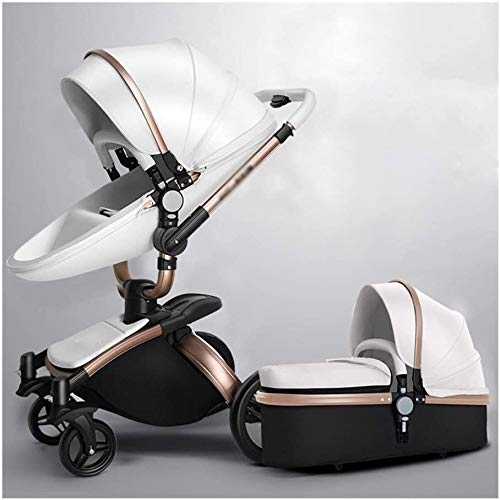 DAGCOT Ligero cochecito for bebés puede sentarse en una simple del cochecito del paraguas habitaciones de niños paisaje de la alta Cochecito de dos vías, Go Travel fuera (Color : White)