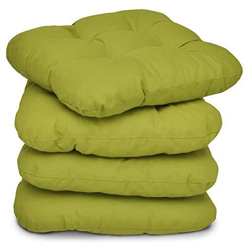 Beautissu 4er Set Stuhlkissen 40x40 cm – Bequemes Kissen Lisa mit 8 cm Polsterung - Weiches Sitzkissen Stuhl oder Sitzauflage Bank in Hellgrün