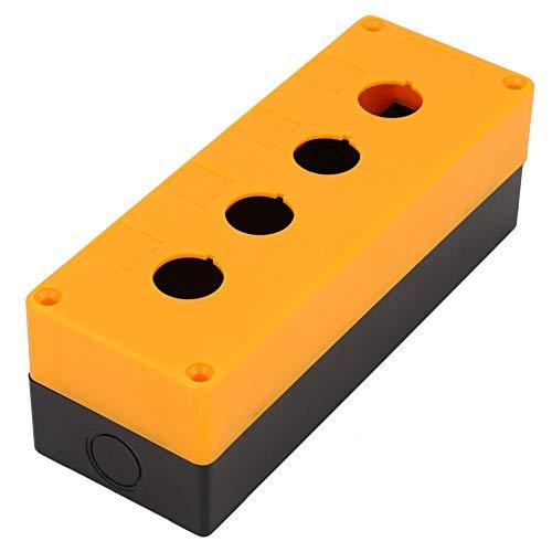 Caja de interruptores, cuatro agujeros BX4 de 22 mm Control de interruptor de botón Caja de caja protectora para interruptores de botón, resistente al agua, uso duradero(amarillo)