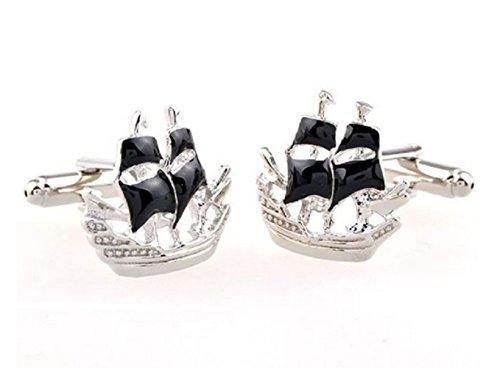 Gudeke Black Sailboat Sail Cufflinks Boutons de manchette pour voiliers