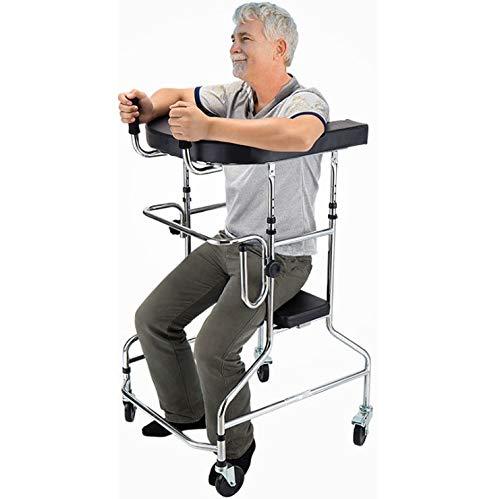 LJMG Rollator Gehhilfe Gehhilfe Für Ältere Menschen Gehhilfe Für Gehbehinderte Erwachsene Kann 100 Kg Tragen (Color : Silver, Size : 100-125cm)
