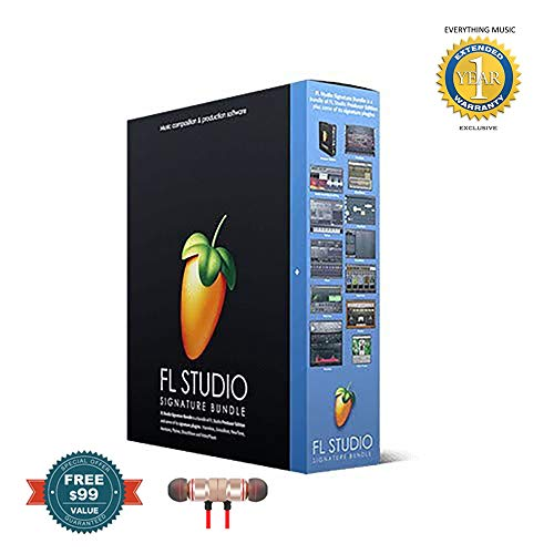 FL Studio 20 Image Line Signature Bundle (Boxed) includes Free Wireless Earbuds - Stereo Bluetooth In-ear and 1 Year Everything Music Extended Warranty