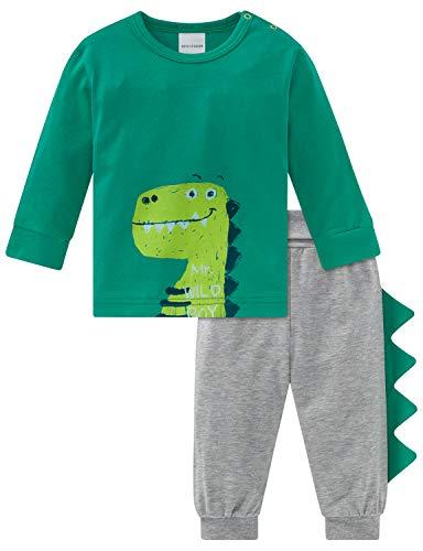 Schiesser Baby-Jungen Supersaurus Anzug lang 2-teilig Zweiteiliger Schlafanzug, Grün (Grün 700), 80 (Herstellergröße: 080)