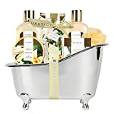 Spa Luxetique Spa Gift Basket, Vanilla Bath and Body Gift Set, Bath Sets for Women Gift, Luxury 8 Pcs Home Bath Set Includes Body Lotion, Bath Bombs, Bath Salt, Best Spa Gift Set for Women.
