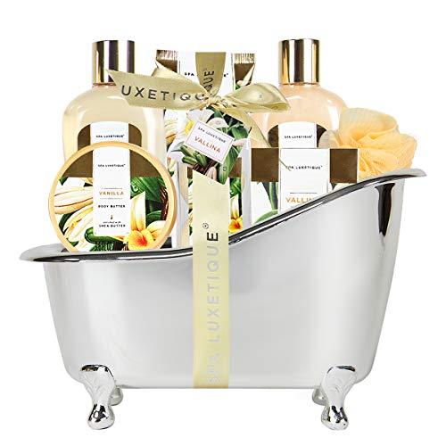 Spa Luxetique Coffret de Bain, Coffret Cadeau pour Femme, 8 Pièces Parfum de Vanille, Cadeau d'Anniversaire et de Saint-Valentin