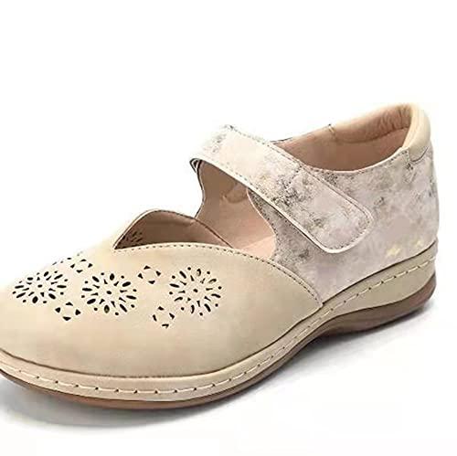 FAYHRH Sandalias de Punta Descubierta para Mujer,Sandalias Huecas de Corte bajo de Primavera y Verano, Zapatos a Juego de Color con Punta Redonda con Velcro-Beige_41