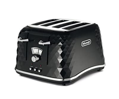De'Longhi Brilliante 4-slot toaster, reheat, defrost & 6 browning settings, removable crumb tray, CTJ4003W, White