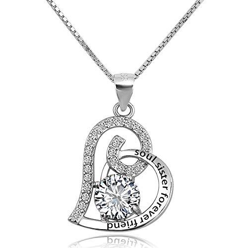 Poetic Charms Liebe Herz Seele Schwester für immer Freund 925 Sterling Silber Halskette Anhänger Birthstone Geschenk