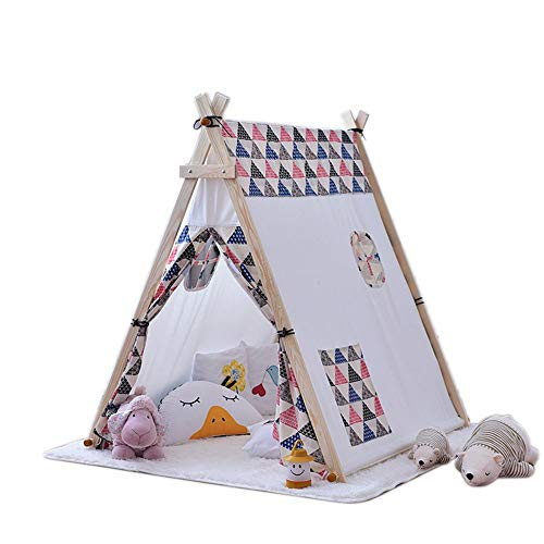 WH-IOE Teepee for Kids Tunnels Castle Teepee Tent For Kids Children Indoor/Outdoor Foldable Tipi Tents With Fun Decorations 130x110x130cm Toys for Indoor and Outdoor