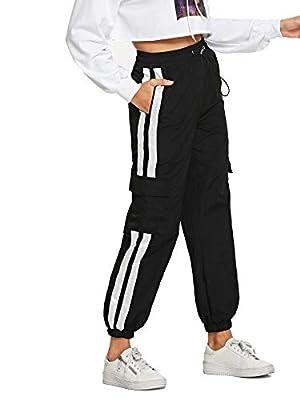 Romwe Women's Workout Jogger Pants High Waist Lightweight Hiking Outdoor Sweatpants Black Large