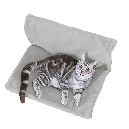 Shujin Katzenbett Heizung Katzenhängematte Katzenheizungsliege Kuschelsack gemütliche Liegematte Katzenliege Warschbar Warm Katzen Hängematte (Grau)
