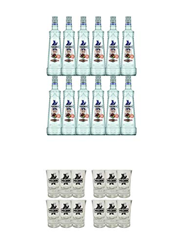 Puschkin Nuts & Nougat 12 x 0,7 Liter + Puschkin Shotglas mit Eichstrich 6 Stück + Puschkin Shotglas mit Eichstrich 6 Stück
