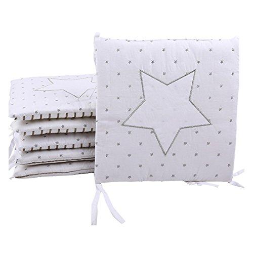Jiyaru 6 Stück Baby Nestchen Bettumrandung Baumwolle Kopfschutz für Babybetten jede 30 x 30cm (Stern)