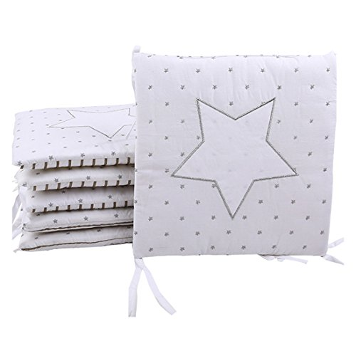 Pinji 6 Stück Baby Nestchen Bettumrandung Kopfschutz Baumwolle für Babybetten je 30 x 30cm