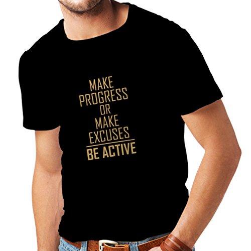 lepni.me Camisetas Hombre Sea Activo - viviendo sin Excusas - motivacion - Citas diarias Inspiradoras para el éxito (X-Large Negro Oro)