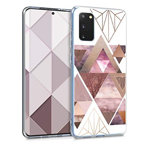 kwmobile Hülle kompatibel mit Samsung Galaxy S20 - Handyhülle - Handy Hülle Glory Dreieck Muster Rosa Rosegold Weiß