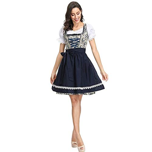 WSJDE Frauen Blumenmuster Oktoberfest Dirndl Kostüm Bier Festival Kleid Anzug Weibliche Kleidung L 4122
