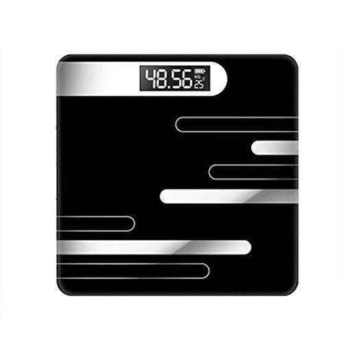 Huishoudelijke weegschaal, Usb Oplaadbare Elektronische Schaal Nauwkeurige Familie Gezondheidsschaal Lichaamsschaal Vrouw Volwassen Schaal, Zwart