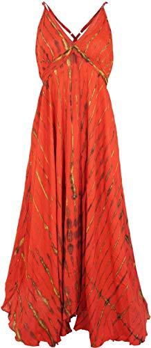 Guru-Shop Batik Maxikleid, Strandkleid, Sommerkleid, Langes Kleid, Damen, Rot, Synthetisch, Size:40, Lange & Midi-Kleider Alternative Bekleidung