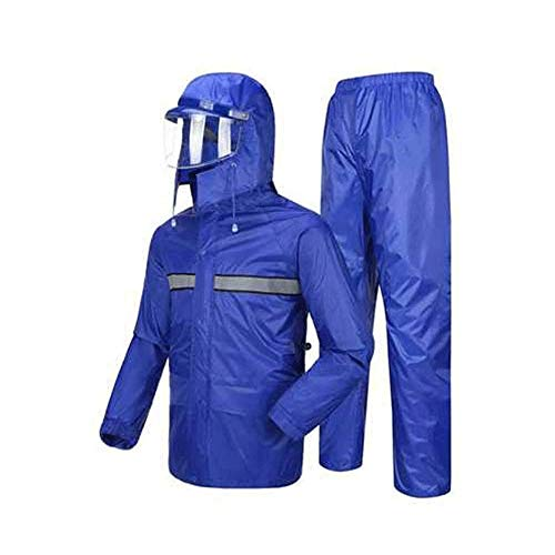 WCJ Waterdichte Regenjas - Waterdichte Regenjas, lichtgewicht Coat, getapete naden, ritszakken Casual Hood Jacket - for reizen (Color : Blue, Size : XXXXL)