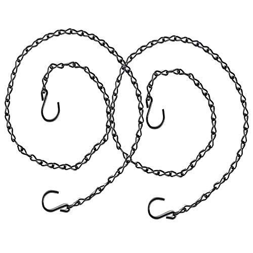 2 Pack S Hook Steel Hanging Harness Chain Adjustable Poultry Drinker Hanging Chain Chicken Feeders Hanger Chain Bird Feeder Chains, 40' Long, Capable to Hold up 30 lbs