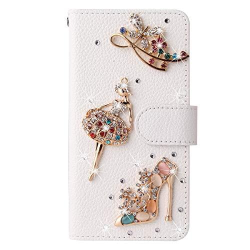 Awenroy Glitzer Hülle für Wiko Y70 Strass Bling Handy Tasche Flip PU Leder Wallet Handyhülle Kartenfach Aufstellfunktion Magnetverschluss mit Stand Funktion - Weiß