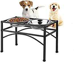 DAZONE Elevated Dog Feeder Raised Pet Bowls-2 Stainless Steel Bowls-Perfect for Water Food or Treats