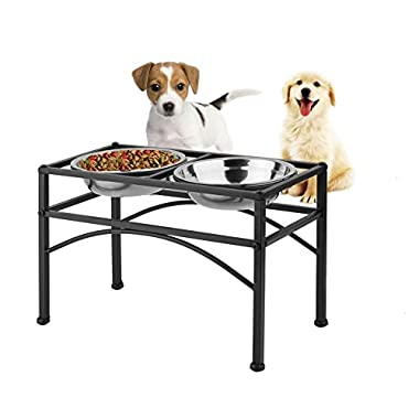 """Dazone Elevated Dog & Cat Feeder - Double Bowl Raised Stand + Extra Two Stainless Steel Bowls, Washable - Perfect for Water, Food or Treats (M:1 quart &10.62""""H)"""