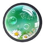 Perillas de tocador Pompas De Jabón Manzanilla Tirador de vidrio para cajón de armario redondo de cristal de cristal Tiradores para cocina, 4 piezas