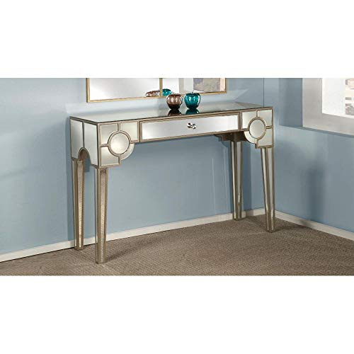 SSLine Mirrored Vanity Desk Makeup Dressing Table with Storage Drawer Modern Glass Finish Sofa Console Table Elegant Glamour Mirror Writing Desk for Home Office Use - Great Gift for Women Girls