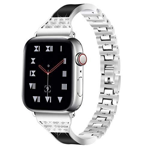 Banda Pulsera de cerámica para Apple Watch Banda de joyería 40 mm 44 mm 38 mm 42 mm Correa de diamante de acero inoxidable Cinturón para iWatch Series 5 4 3 2 1