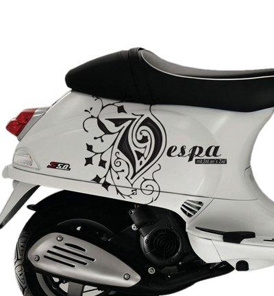 Set de pegatinas de vinilo para moto Vespa S y scooter, color negro