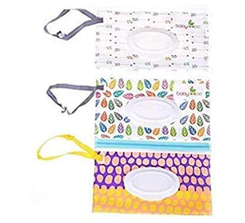 ZYCX123 Viajes toallitas Caso toallita húmeda toallitas Titular dispensador de Bolsas de Embalaje de toallitas húmedas Bolsa Ventana extraíble para Bebés y Niños 3PCS