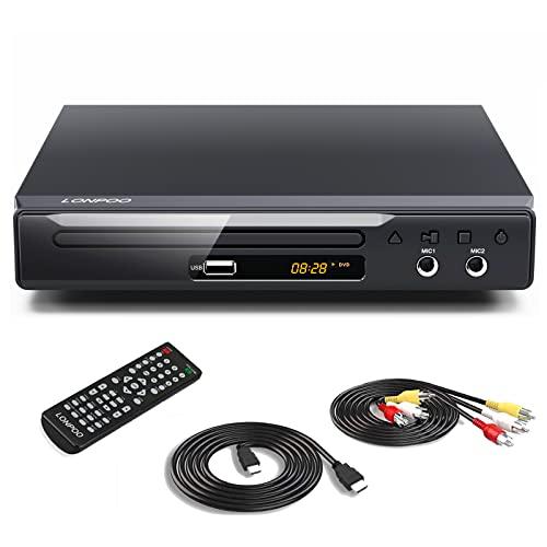 LONPOO Metallschale DVD Player für TV mit HDMI & SCART & USB & MIC* 2 Ports, All Regions Code-Free (HDMI & RCA Kables Einschließen)