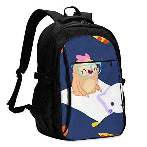 XCNGG Cute Cartoon Sloth and Cat Flying Carpet Travel Laptop Backpack College School Bag Casual Daypack with USB Charging Port