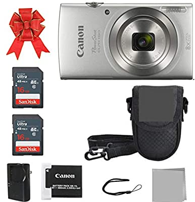Canon PowerShot ELPH 180 Digital Camera + 2X 16GB Memory Card + A Premium Camera Case from CRYSTAL FLASH SALES