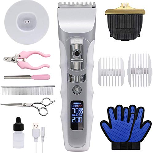 JAKEMY Dog Clippers Low Noise Pet Clippers Rechargeable Dog Trimmer Cordless Pet Grooming Tool Comb Guides Scissors Nail Kits with Pet Glooming Glove for Dogs Cats & Others