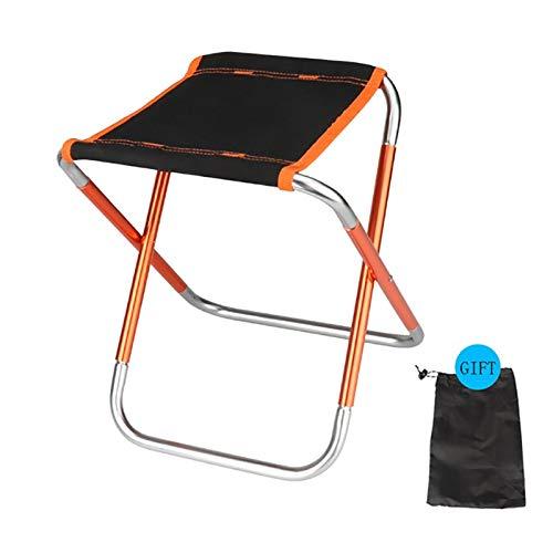 Mini Silla Plegable, con Mochila Silla portátil con Bolsa de Transporte, de la Estufa Que acampa de la Comida campestre de Viaje (24 x 19 x 4 cm) (Color : Orange)