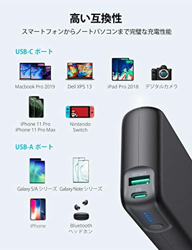 RAVPowerモバイルバッテリー20000mAhPD対応60WUSB-A+USB-C2ポート大容量iPhone/Android/MacBook/ノートパソコン/Switch等対応PSE認証済RP-PB201