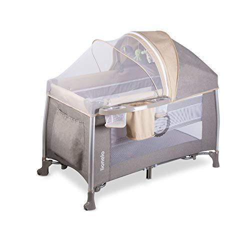 Lionelo Simon 2in1 Reisebett Baby, Laufstall Baby ab Geburt bis 15kg, Spielkarussell mit Spielzeug, Moskitonetz, zusammenklappbar (Sand) - 2