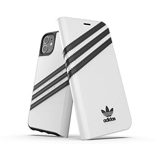 adidas Originales Compatible con iPhone 11, Funda Protectora Folio PU Booklet Teléfono Móvil - Blanco/Negro