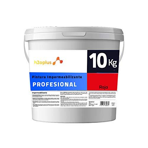 Profesional Pintura de Caucho Roja Impermeabilizante · Revestimiento Exterior para Terrazas y Azoteas Transitables · 10KG (8,3 L) · NO Necesita Fibra