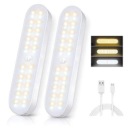 Luz de Armario Magnética 40 LED,3 Modos Luz Armario con Sensor de Movimiento,Luces LED Armario USB Recargable,600mA Luz Armario para Escaleras,Armario,Pasillo,Cocina, Gabinete,Garaje-2 Packs