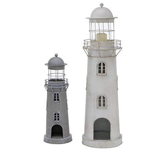 CasaJame Metall Laterne Windlicht 2er Set Sortiert Leuchtturm H 54-75 cm grau Eisen