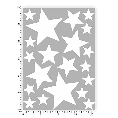 Bogengröße A4 - Sterne - Selbstklebende Folie - Stars Set1 IN 15 Farben - Neon + Chrom! Sticker Aufkleber