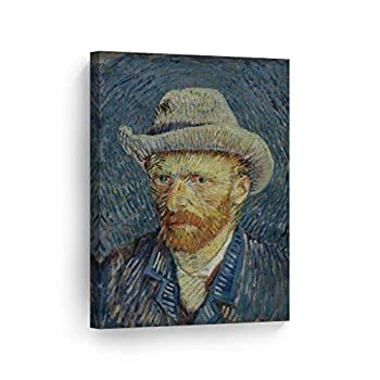 Smile Art Design Vincent Van Gogh Self Portrait with Grey Felt Hat Winter 1887–88 Canvas Wall Art Print Artwork Classic Modern Art Living Room Bedroom Decor Ready to Hang Made in The USA - 28x19