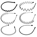 6Pcs Metal Spring Wavy Hair Hoop Ordinary Headwear ,Hoop Ordinary Headwear hair bands for Women and Men Black.