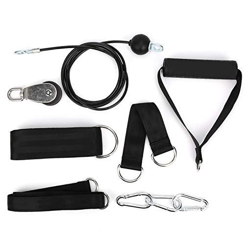 Tbest Equipo de Gimnasia de Bricolaje, Cable de tríceps de Fuerza de Brazo de Cuerda de polea de Bricolaje con Kit de Gimnasia de Accesorio de Rueda